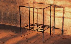 tavolino ferro battuto e vetro