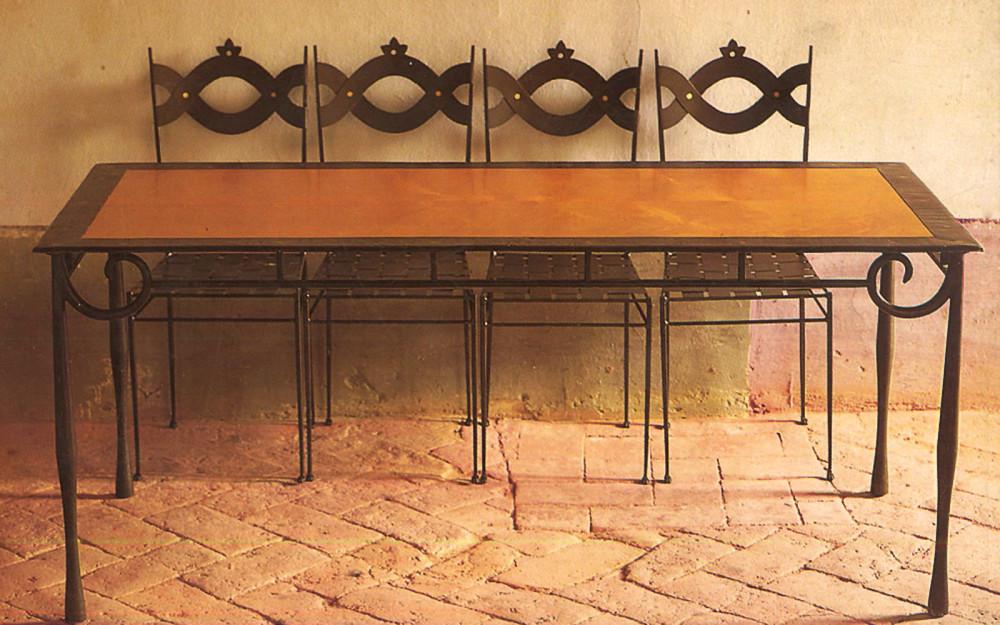 Tavolo In Ferro Brunito E Legno : Tavoli ferro